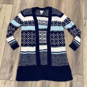 ST. JOHNS BAY Navy White Striped Knee Length Sweater Cardigan